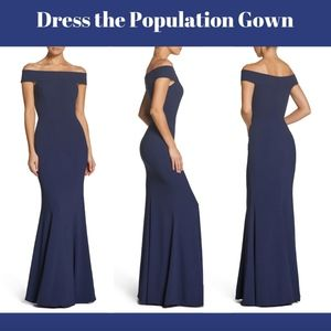 NEW Dress the Population Jackie Off Shoulder Gown